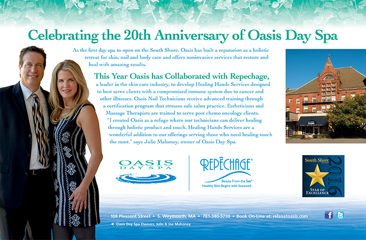 Oasis Day Spa in Weymouth, MA Celebrating 20 Years. South Shore Magazine Star of Excellence.